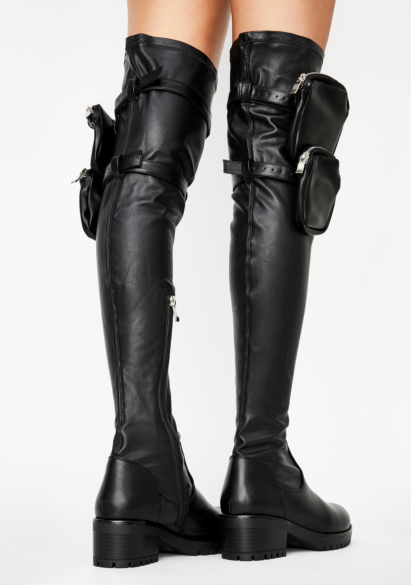 AZALEA WANG Eureva Utility Knee High Boots