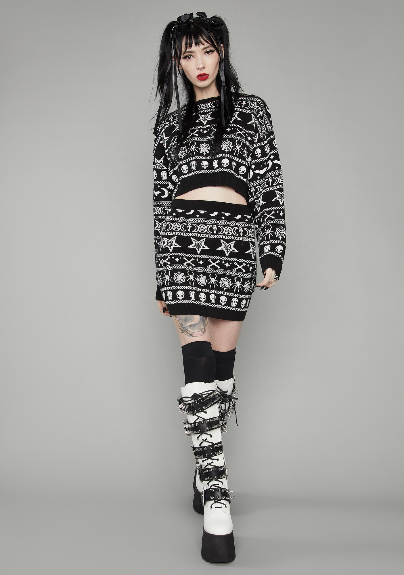 Dolls Kill Festive Fear Knit Mini Skirt