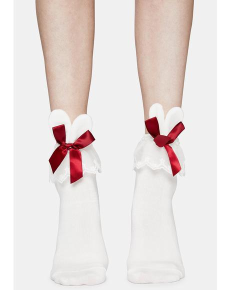 Shortcake Love Bunny Ruffle Ankle Socks