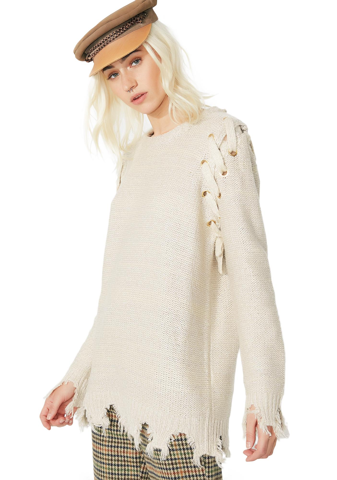 A Step Ahead Distressed Sweater