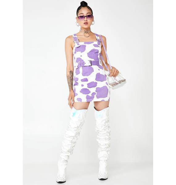Jaded London Lilac Cow Print Denim Mini Dress
