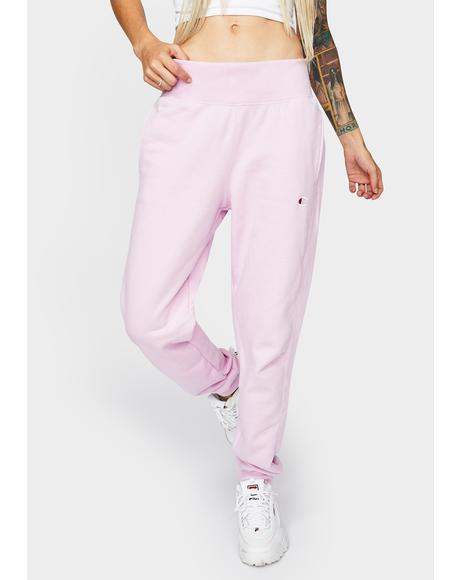 Pink Reverse Weave Joggers