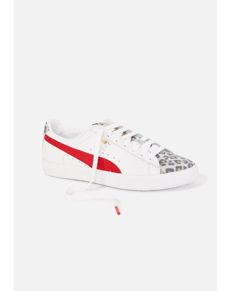 Leopard Clyde Lace Up Sneakers