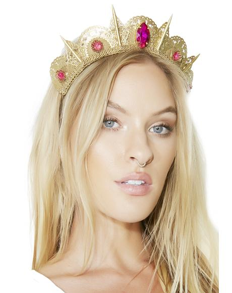 Pink Gem Filigree Spike Tiara
