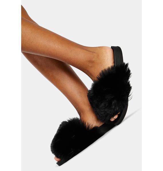 Late Fuzz Club Fluffy Slides