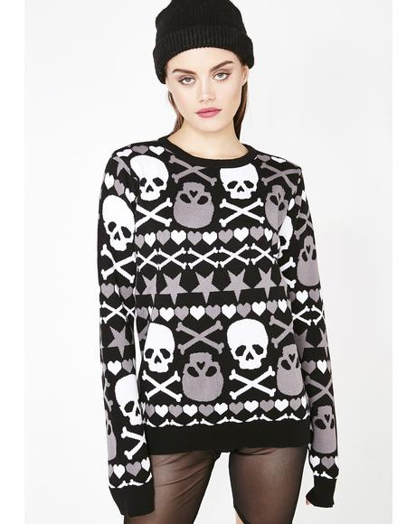 Stars & Skulls Ugly Christmas Halloween Sweater