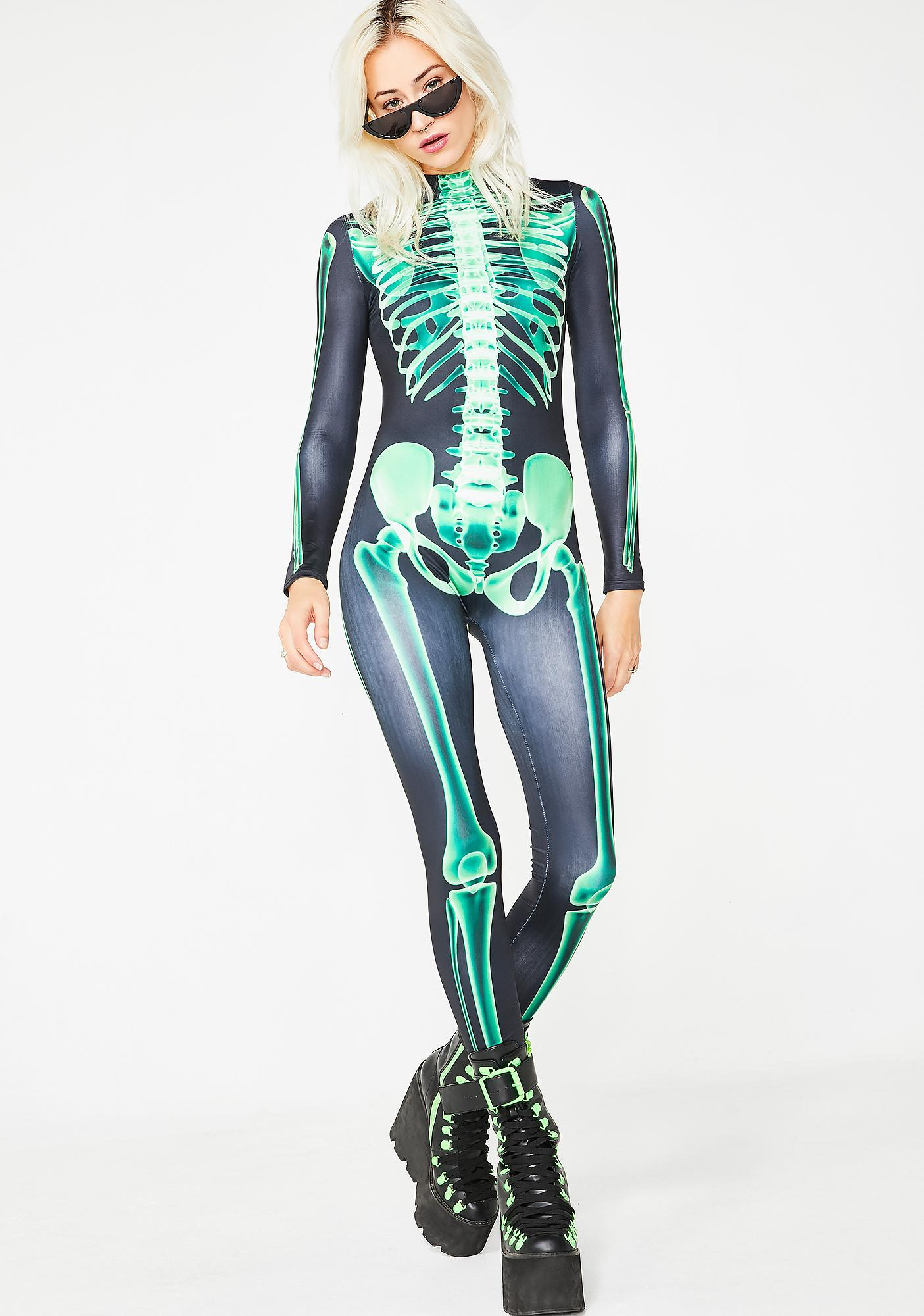Dolls Kill Acid Bones Skeleton Catsuit
