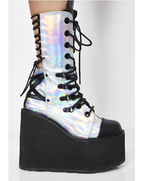 Moon Blazin' Hologram Platform Boots