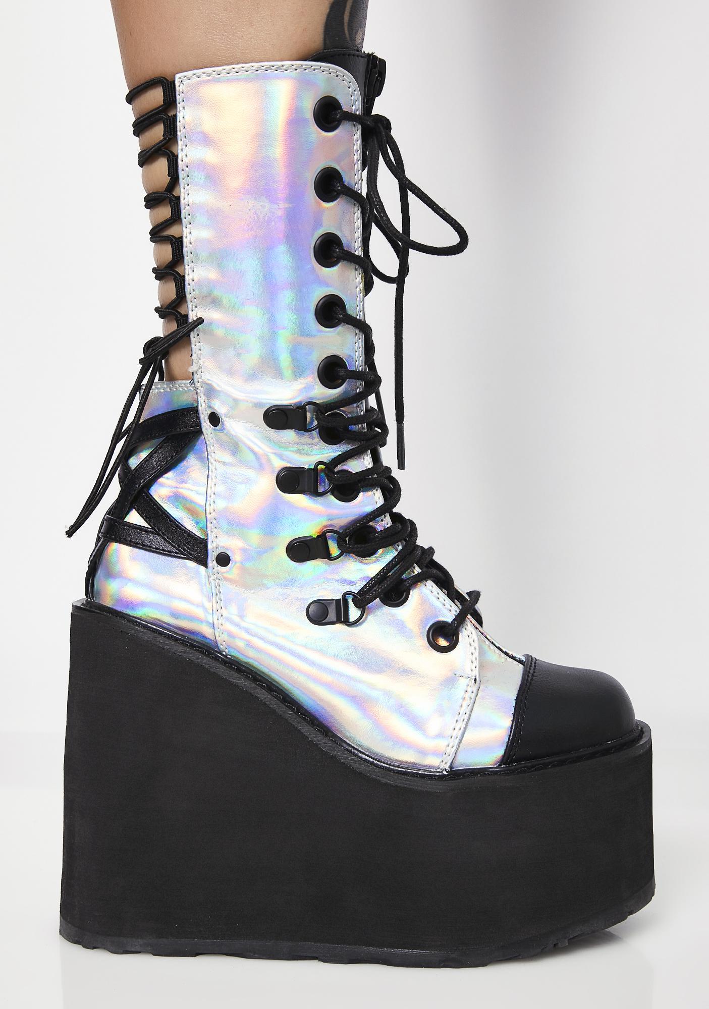 Demonia Moon Blazin' Hologram Platform Boots