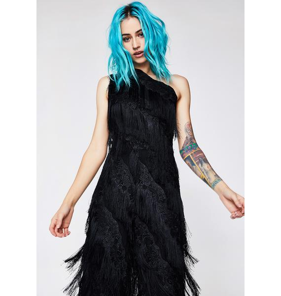 Lavish Alice Black Fringed Lace Jumpsuit