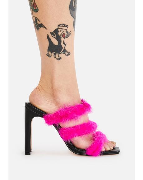 Hot Pink Cachaita Marabou Heels