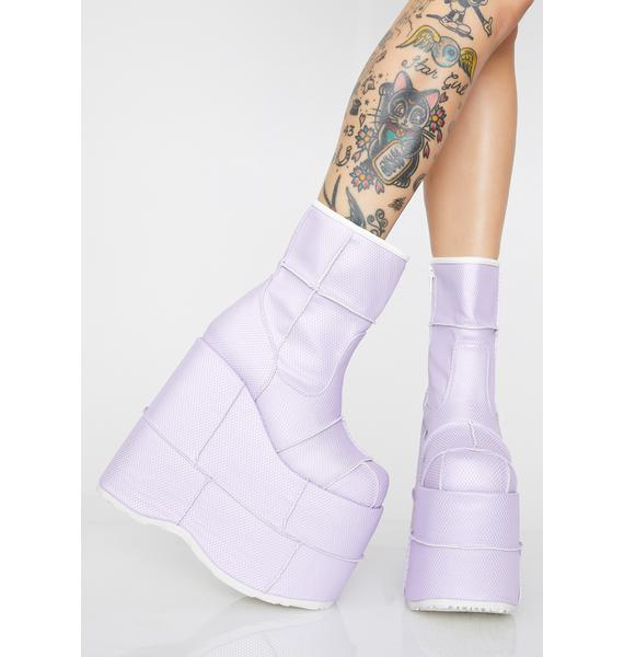 Demonia Fairy Soul Stomper Holographic Stack Boots