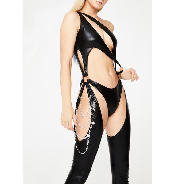 Club Exx Onyx Prism Moonwalk Cutout Catsuit