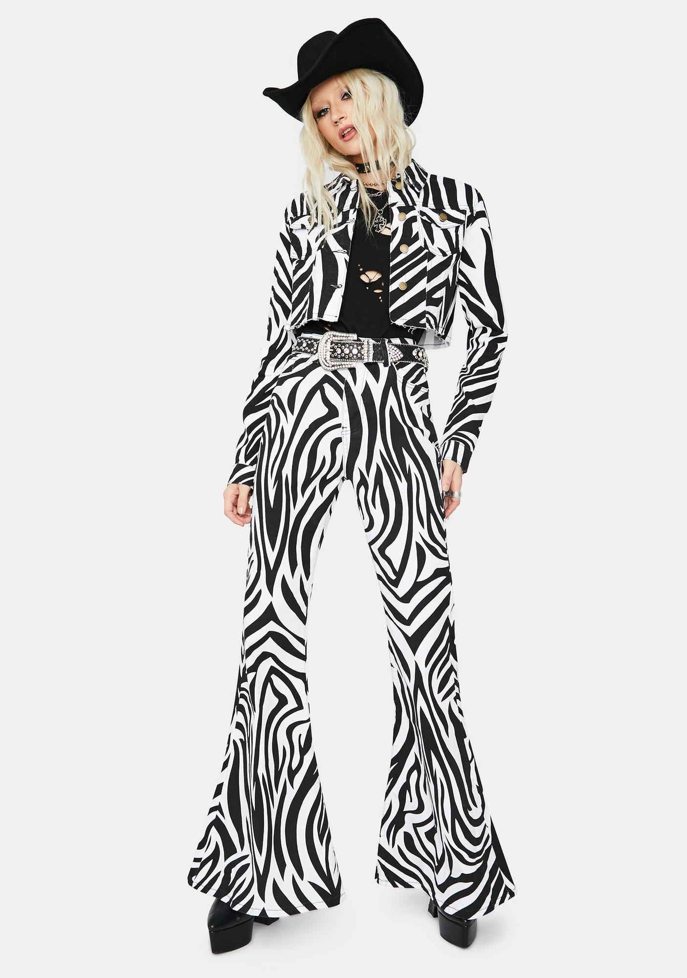 Free To Roam Zebra Print Denim Jacket