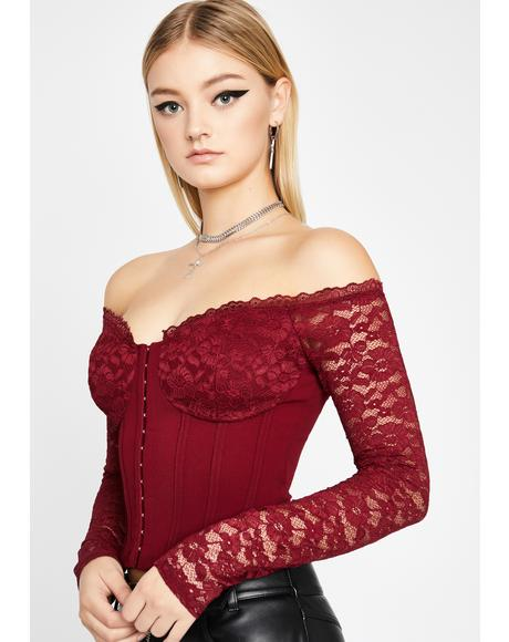 Wine Sultry Invitation Lace Top