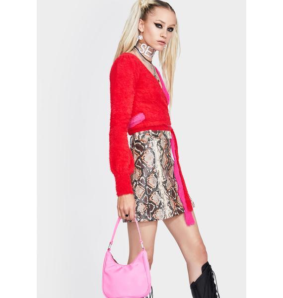 4SI3NNA Royce Snakeskin Mini Skirt