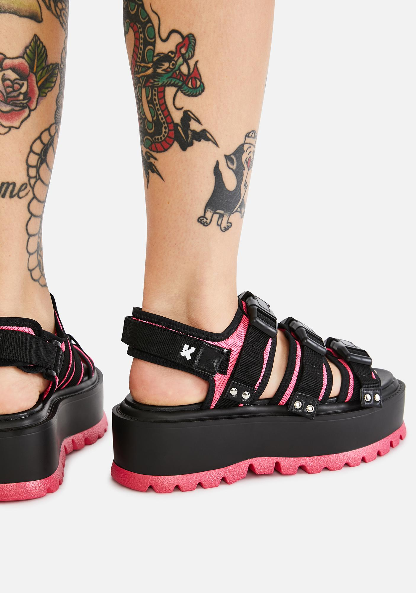 Koi Footwear Pink Asteroid Matrix Platform Sandals