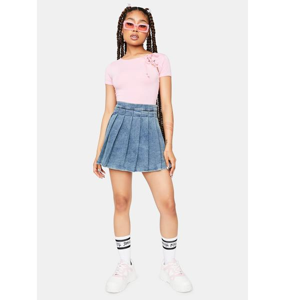 Blush Fake Friends Lace Up Crop Tee