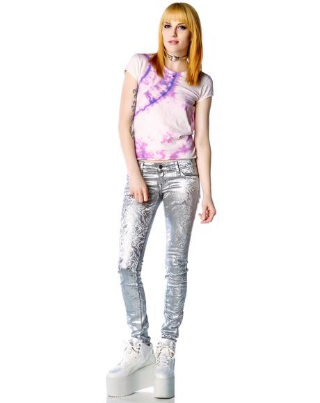 Melting Holographic Foil Junkie Jeans