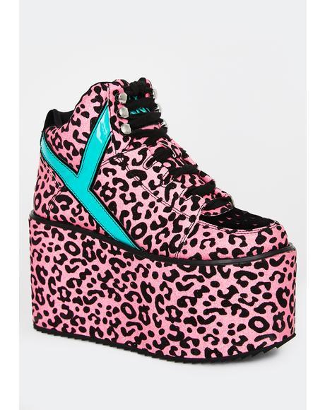 Qozmo Pink Leopard Platform Sneakers