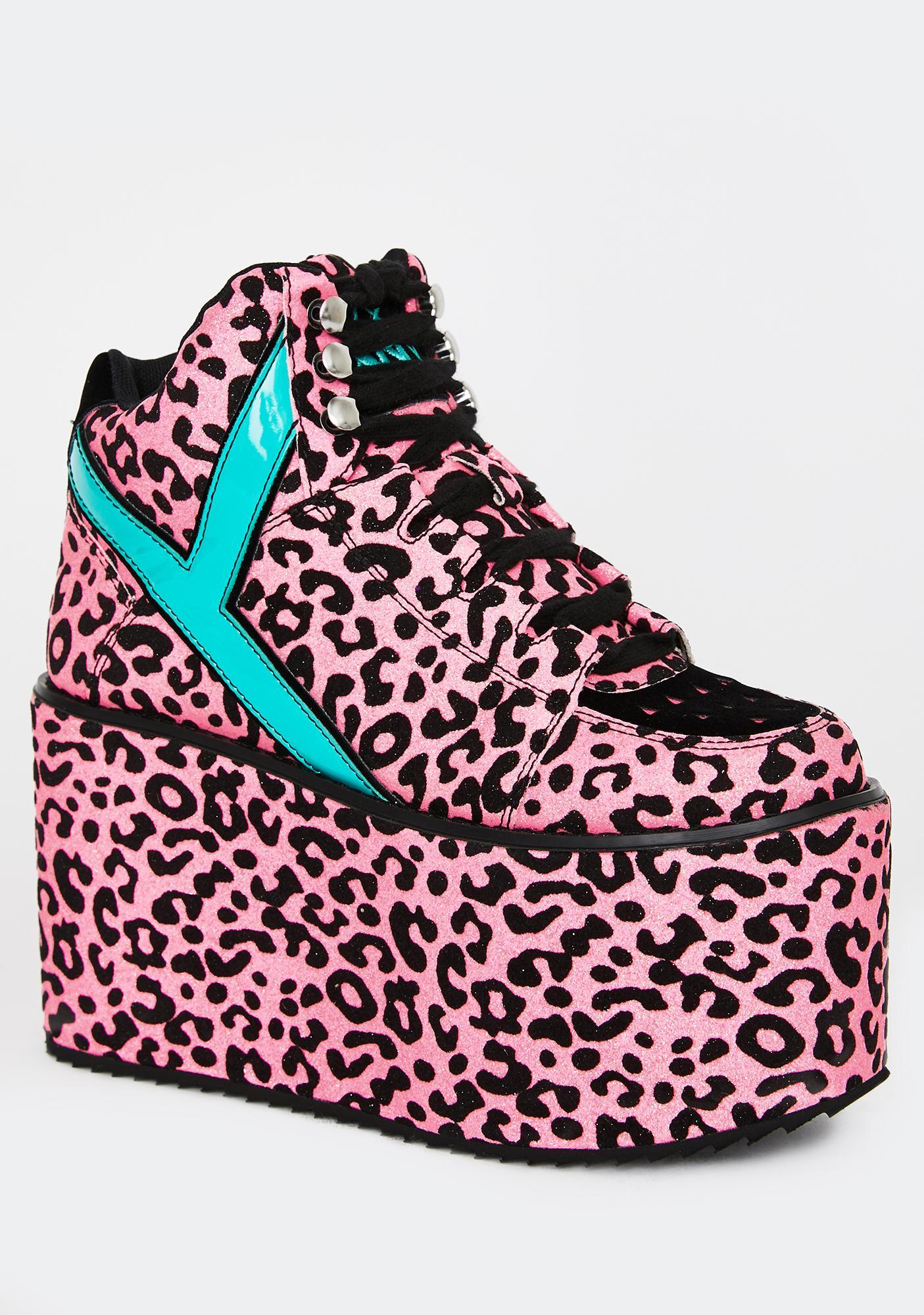 Y.R.U. Qozmo Pink Leopard Platform Sneakers