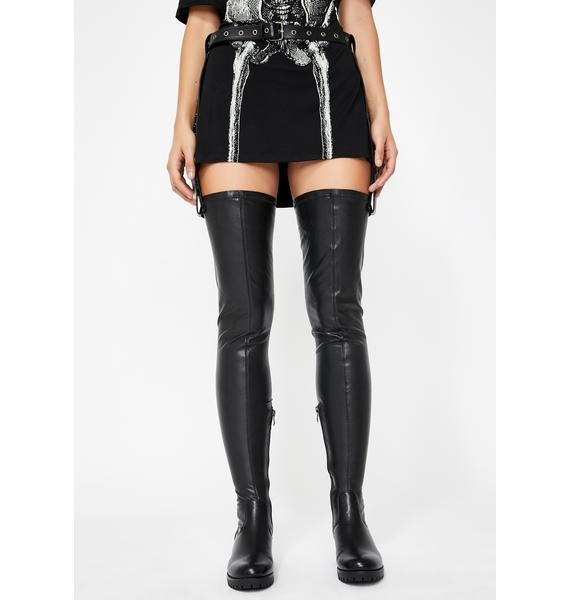 AZALEA WANG Surgical Belted Thigh High Boots