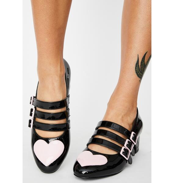 Strange Cvlt Black Patent Heart Block Heels