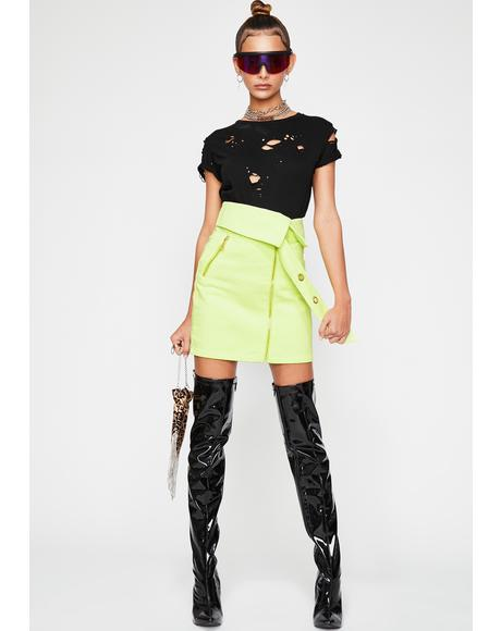Neon Venom Denim Skirt