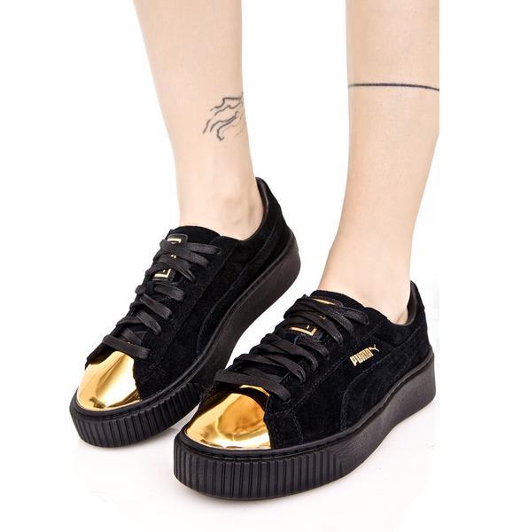 PUMA Gold Tip Suede Platform Sneakers