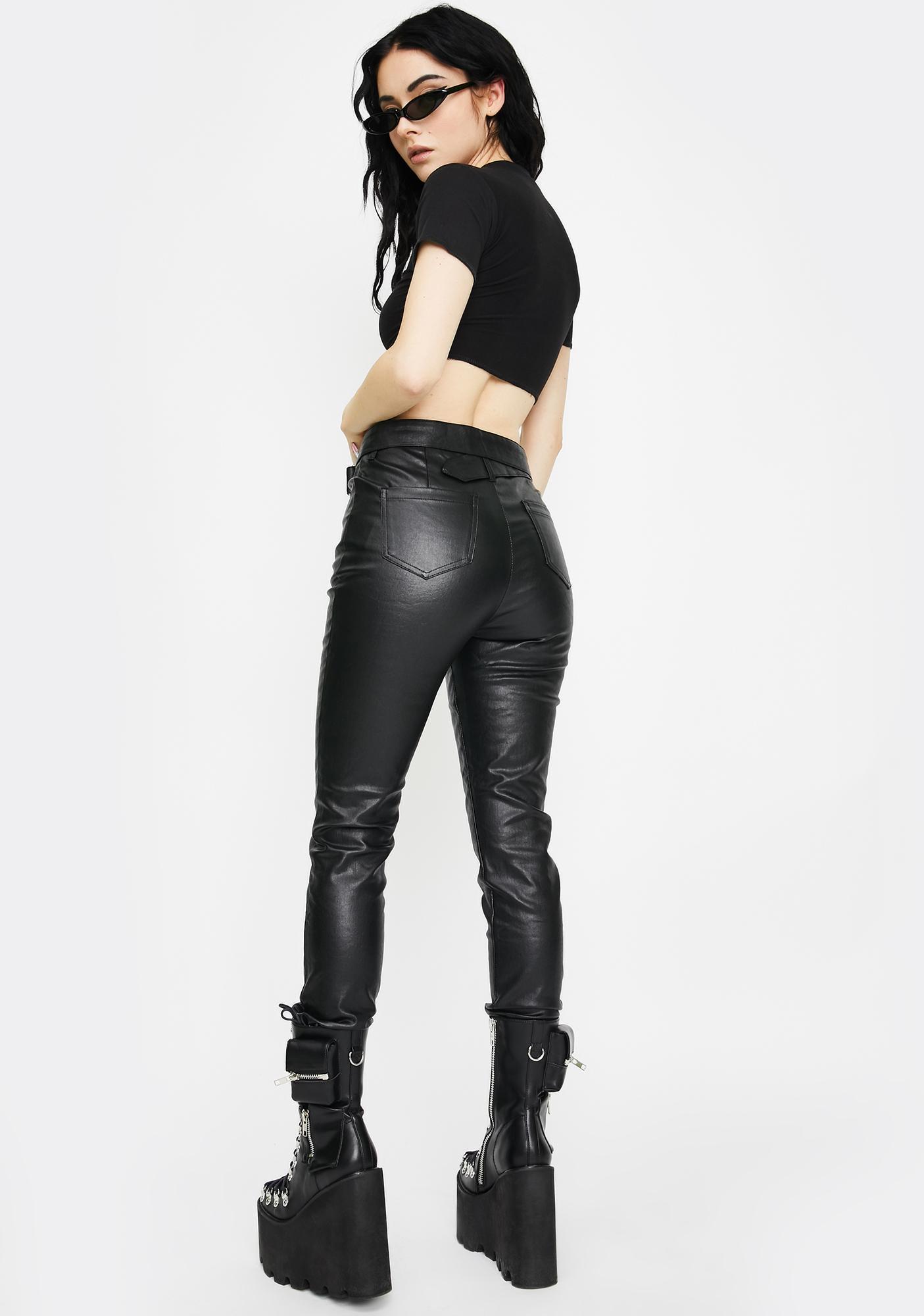 Punk Rave Military Vegan Leather Skinny Pants
