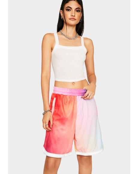 Coral Pink Classic H Reflective Basketball Shorts
