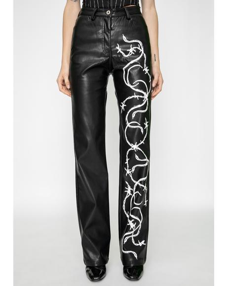 Black Vega Vegan Leather Pants