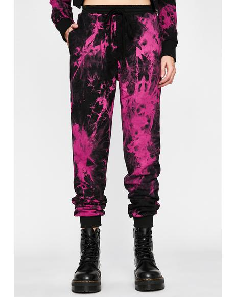 Fucshia Too Cool Tie Dye Joggers