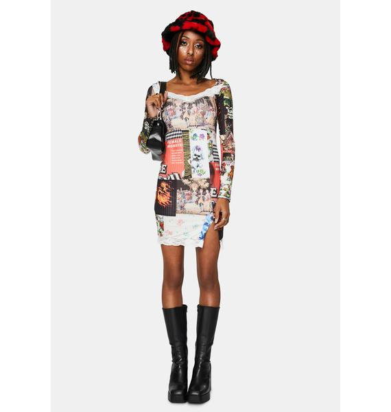 NEW GIRL ORDER Patchwork Long Sleeve Mini Dress