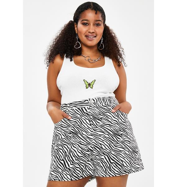 dELiA*s by Dolls Kill Servin' Animal Style Zebra Shorts