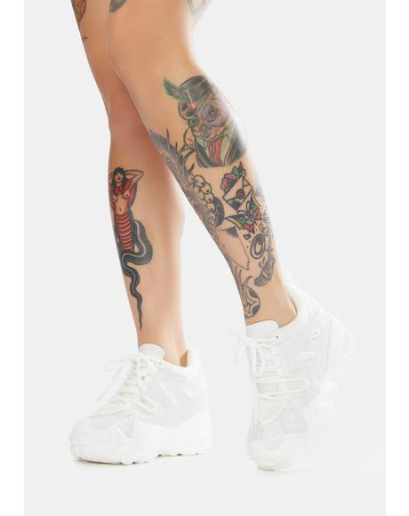 White Persimmon Wedge Sneakers