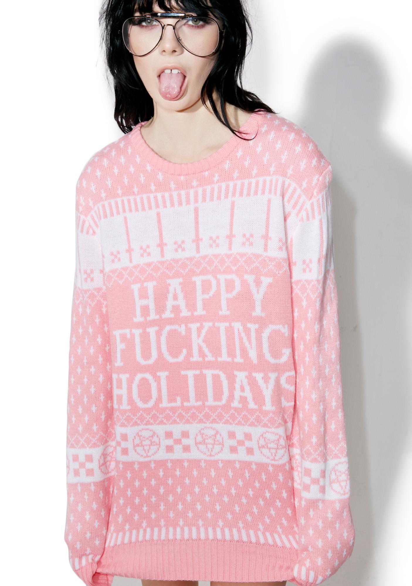 Current Mood Happy Fucking Holidays Sweater