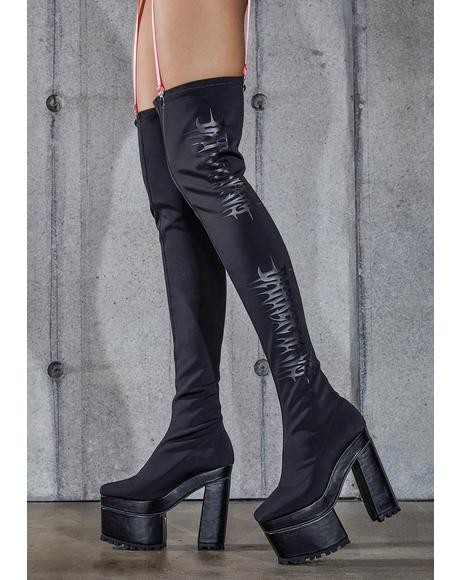 Snare Logo Stretch Thigh High Platform Boots