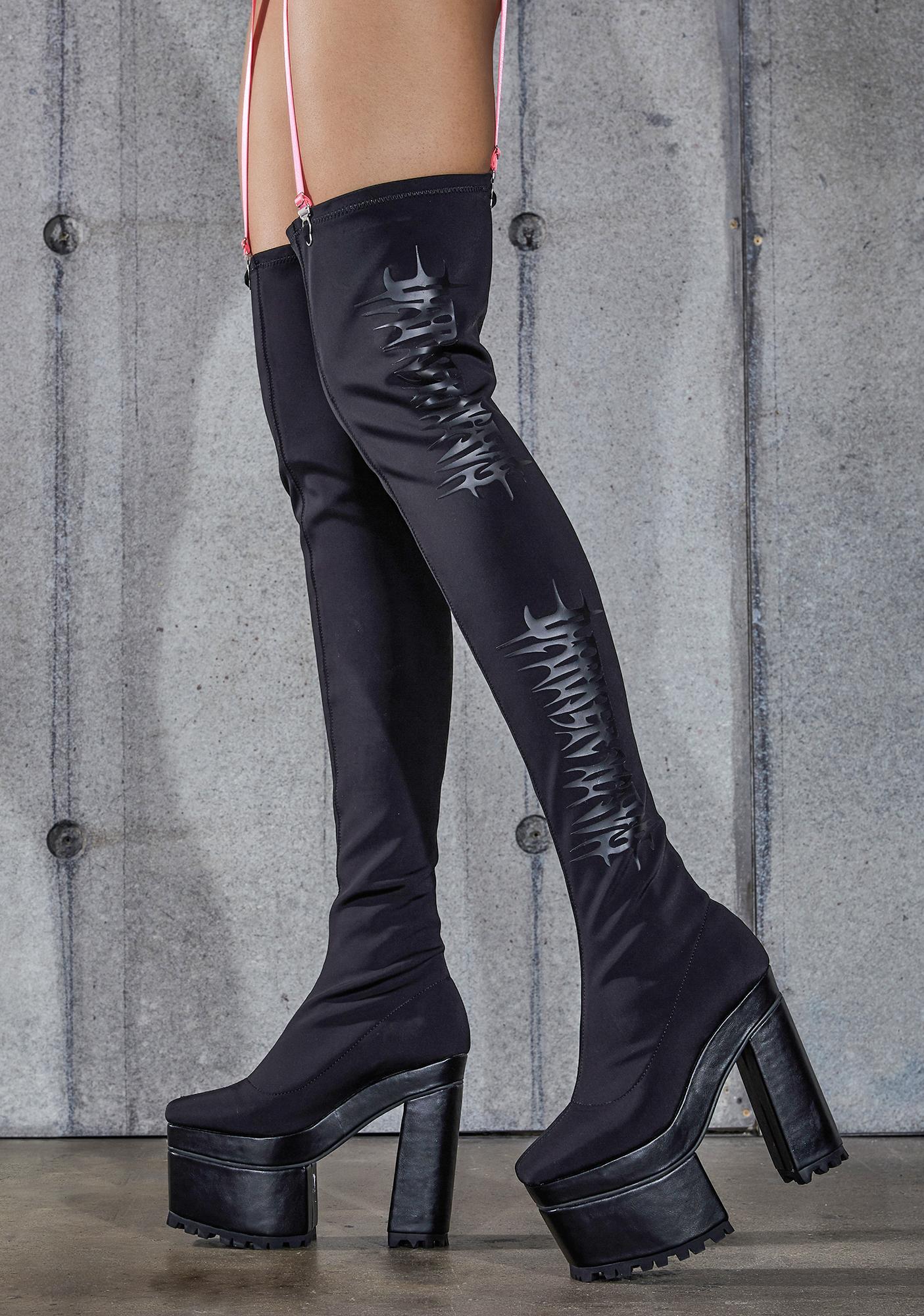 DARKER WAVS Snare Logo Stretch Thigh High Platform Boots