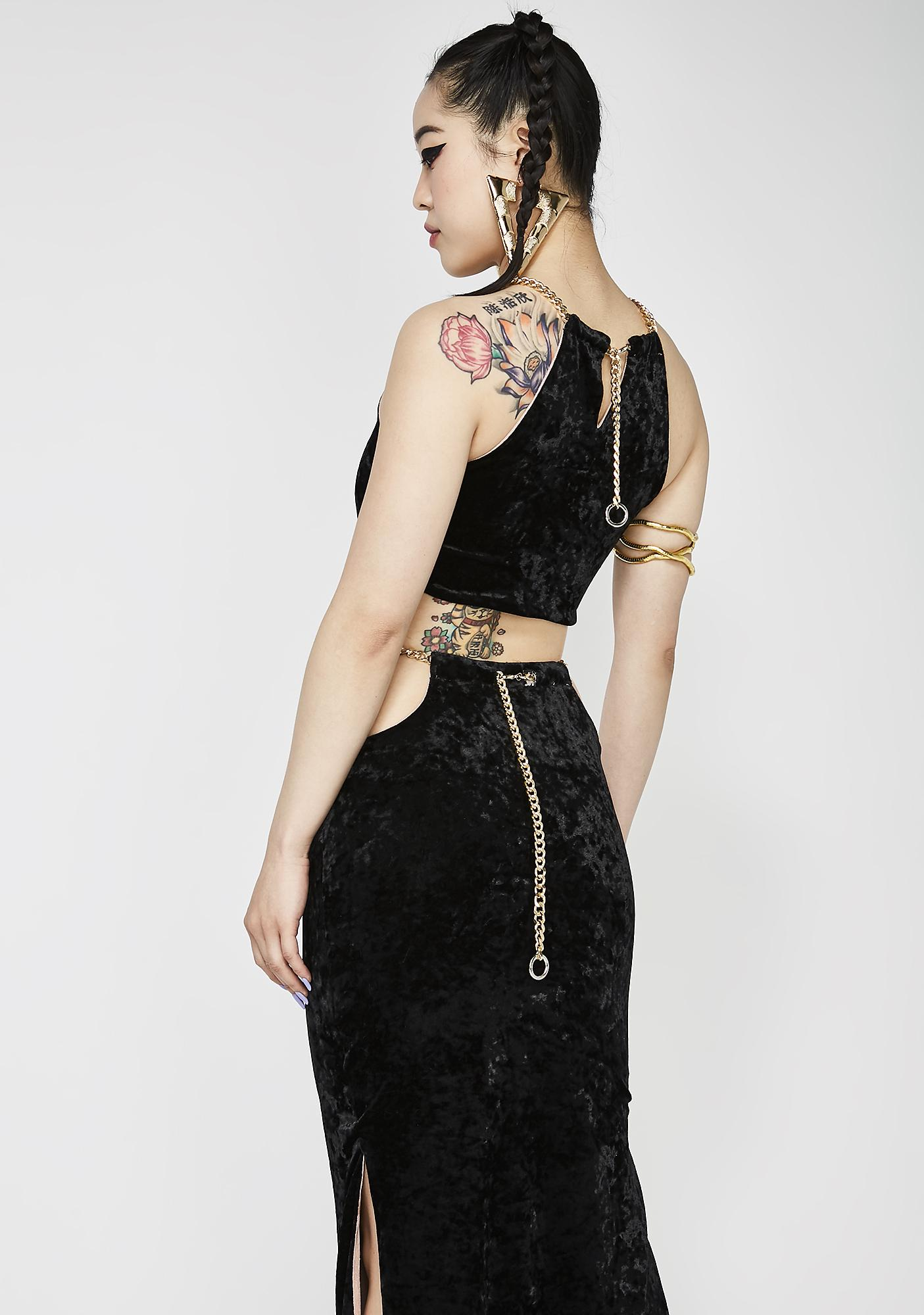 Dynasti Bad Girl Embroidered Reversible Skirt