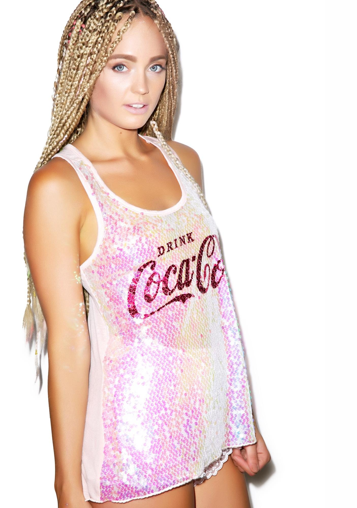 001c47d5 Drink Coca Cola Long Sequin Tank | Dolls Kill