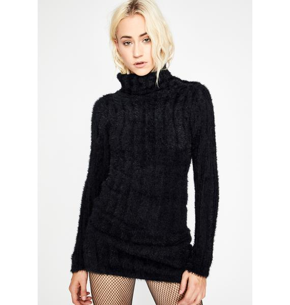 Black Hearted Lover Sweater Dress