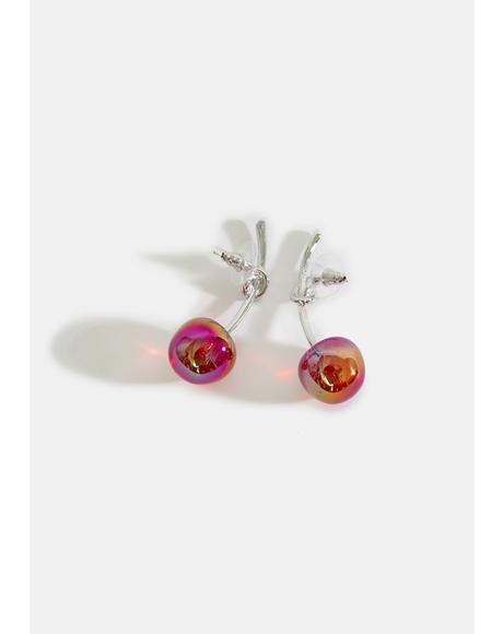Goldie Juicy Bite Acrylic Cherry Earrings