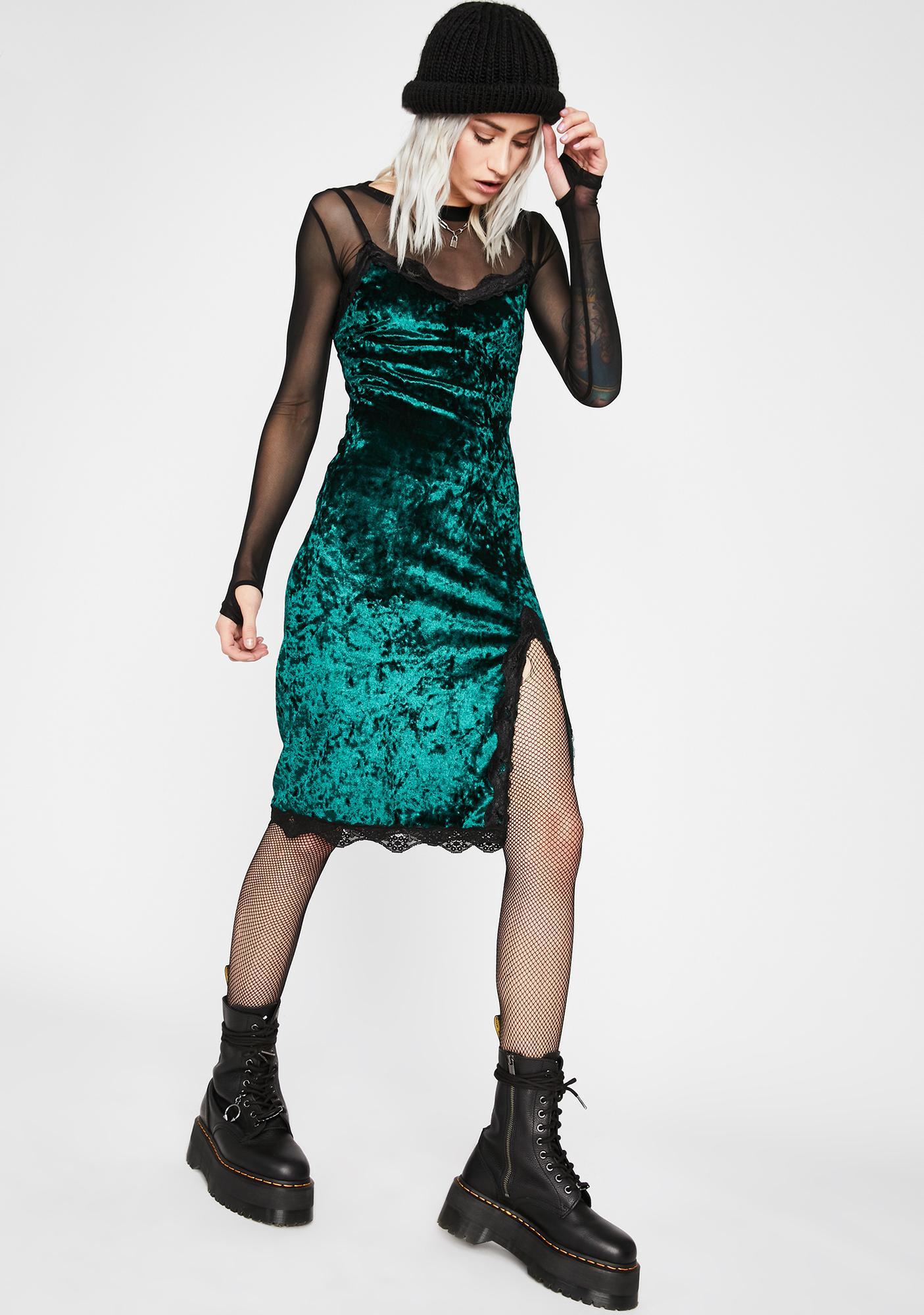 Emerald Read Into Me Velvet Dress