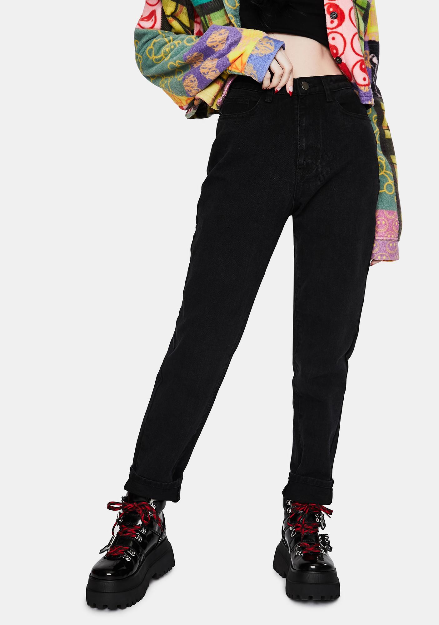 Momokrom Washed Black Mom Jeans