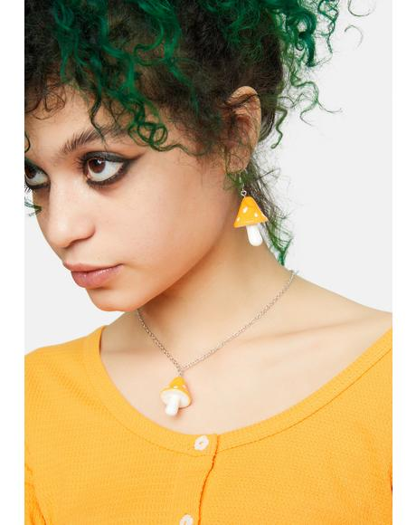 Sunny Nature Vision Mushroom Earrings And Necklace Set
