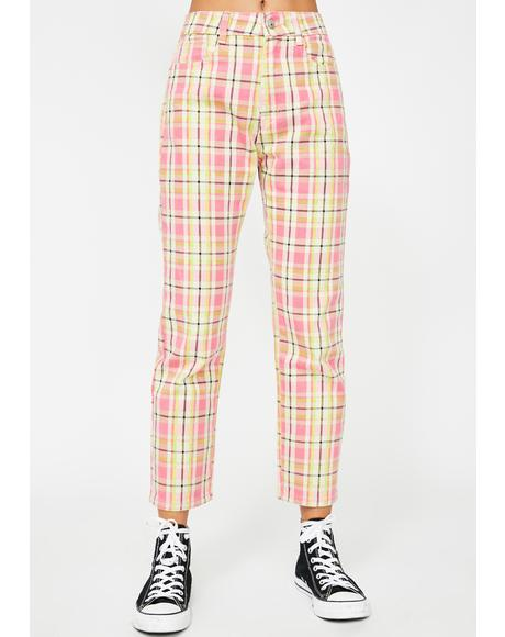 Pink Checkered Jeans