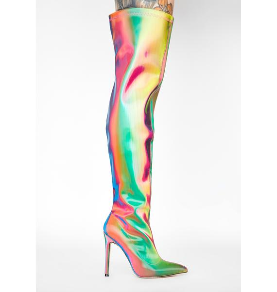 Lemon Drop by Privileged Rainbow Feather Thigh High Boots