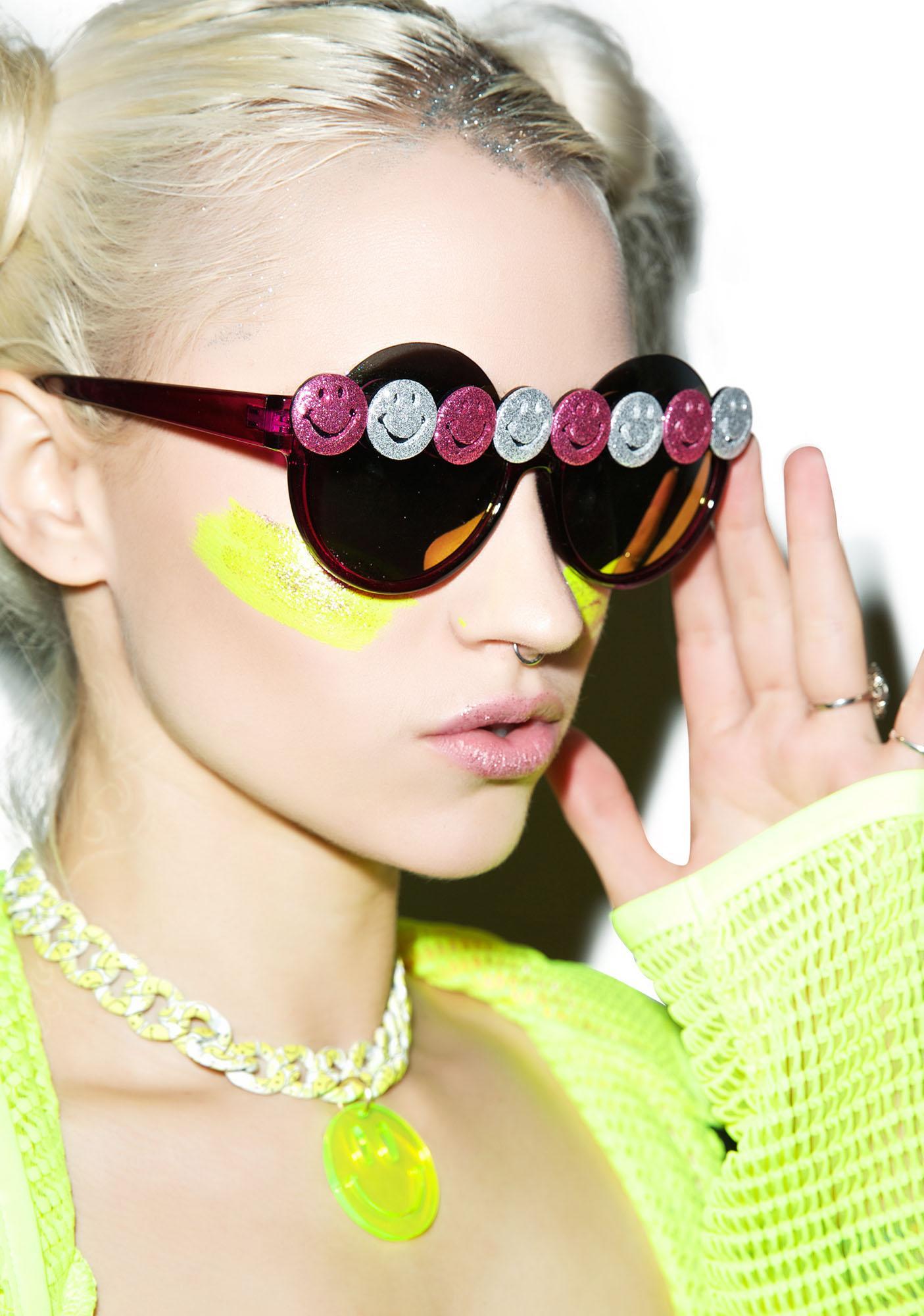 Gasoline Glamour Smiley Gurl Peekaboo Sunglasses