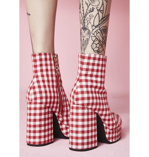 Sugar Thrillz Swt Like Cherry Pie Gingham Boots